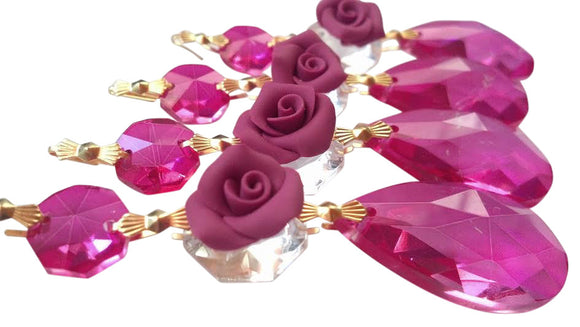 Fuchsia Pink Chandelier Crystal Teardrop Ornaments with Rose - ChandelierDesign