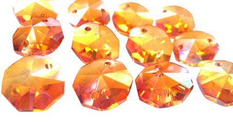 Peach AB Iridescent Chandelier Crystal Octagon Prisms 14mm Beads