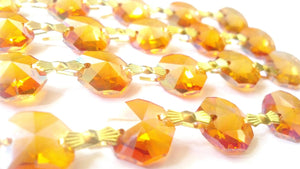 Iridescent Peach AB Chandelier Crystal Garland Yard of Prisms - ChandelierDesign