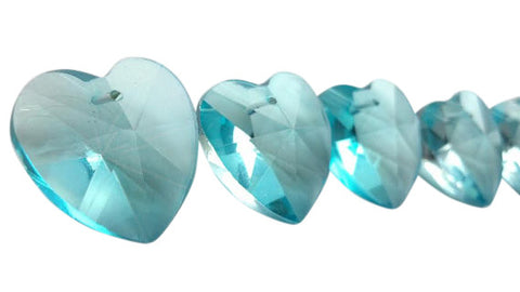 Heart Chandelier Crystals Prisms 28mm Antique Green (Light Aqua) - ChandelierDesign