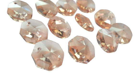 Light Champagne 14mm Octagon Beads Chandelier Crystals 2 Holes - ChandelierDesign