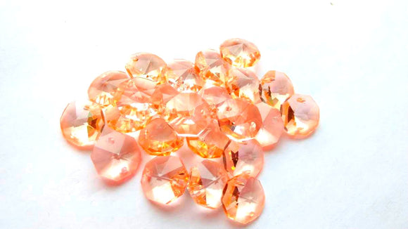 Light Peach 14mm Octagon Beads Chandelier Crystals 2 Holes - ChandelierDesign