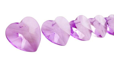 Heart Chandelier Crystals Prisms 28mm Lilac - ChandelierDesign