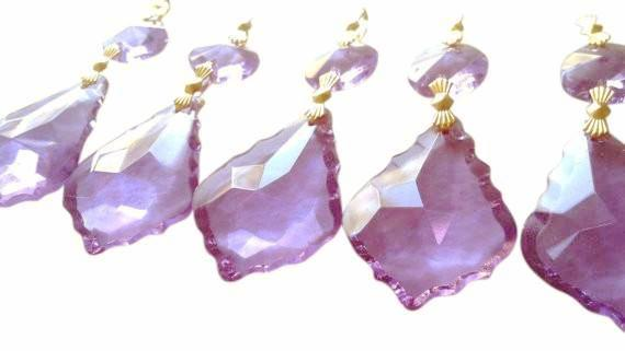 Lilac French Cut Chandelier Crystals Pack of 5 Ornaments - ChandelierDesign