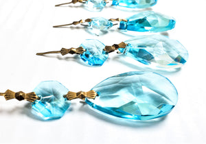 Light Aqua Teardrop Chandelier Crystals Ornament, Pack of 5 - ChandelierDesign