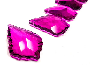 Magenta French Cut Chandelier Crystals, Pack of 5 - ChandelierDesign