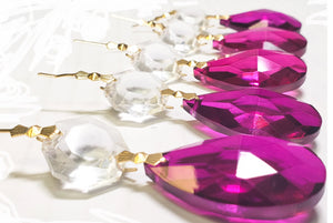 Magenta Teardrop Chandelier Crystals with Diamond Cut Octagon - ChandelierDesign