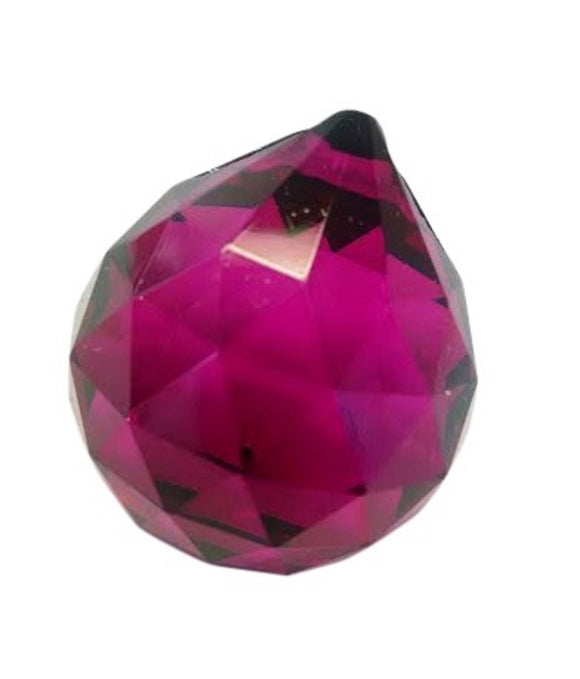 Magenta Chandelier Crystal Ball, Faceted Ball Prism - ChandelierDesign