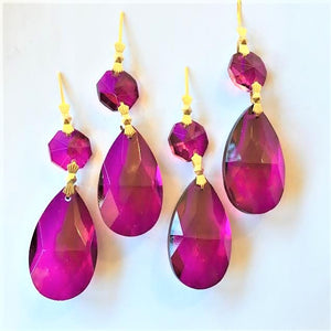 Magenta Teardrops Chandelier Crystals, Pack of 5 Ornaments