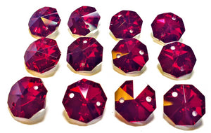 Metallic Dark Red 14mm Octagon Beads, Chandelier Crystals 2 Holes - ChandelierDesign