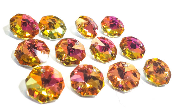 Metallic Sunset 14mm Octagon Beads Chandelier Crystals 2 Holes
