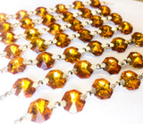 Metallic light Amber Chandelier Crystal Garland Yard of Prisms - ChandelierDesign