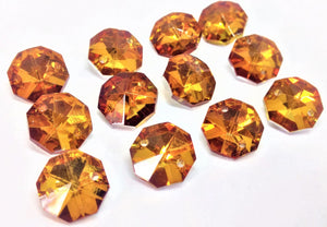Metallic Amber 14mm Octagon Beads, Chandelier Crystals 2 Holes
