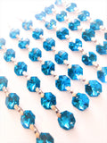 Metallic Aquamarine Chandelier Crystal Garland Yard of Prisms - ChandelierDesign