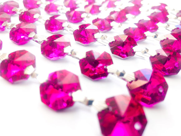 Metallic Fuchsia Pink Chandelier Crystal Garland Yard of Prisms - ChandelierDesign