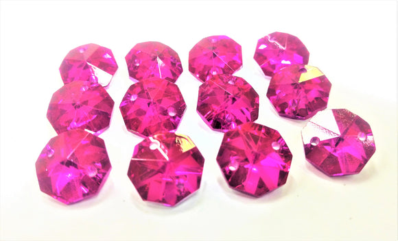 Metallic Fuchsia Pink 14mm Octagon Beads, Chandelier Crystals 2 Holes - ChandelierDesign