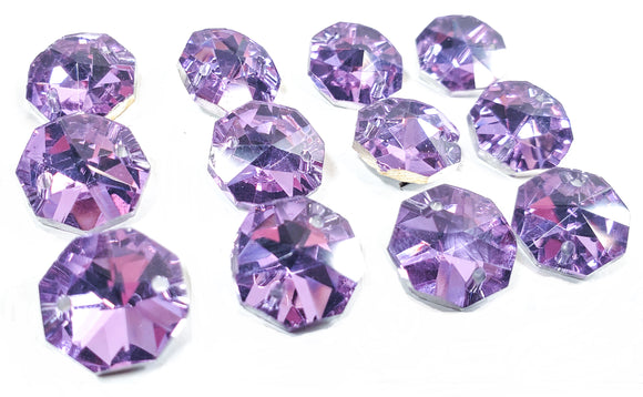 Metallic Lilac Purple 14mm Octagon Beads, Chandelier Crystals 2 Holes - ChandelierDesign