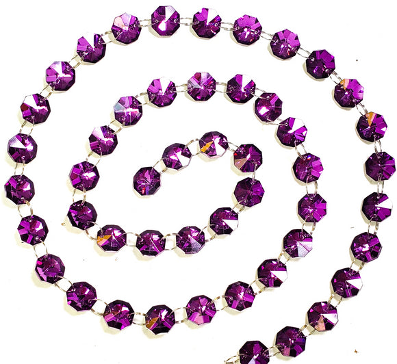 Metallic Purple Yard Chandelier Crystals Garland, Ring Connectors - ChandelierDesign