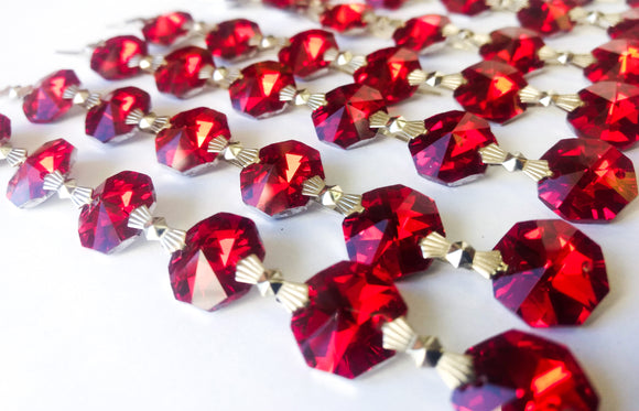 Metallic Red Chandelier Crystal Garland Yard of Prisms - ChandelierDesign