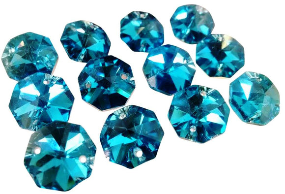Metallic Turquoise 14mm Octagon Beads Chandelier Crystals 2 Holes - ChandelierDesign