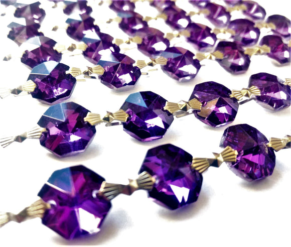 Metallic Violet Chandelier Crystal Garland Yard of Prisms - ChandelierDesign