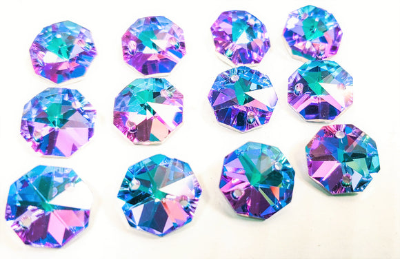 Metallic Lilac and Aqua Chandelier Crystal Octagon Prisms 14mm Beads