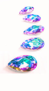 Lilac and Aqua Teardrops Chandelier Crystals Pendants, Pack of 5