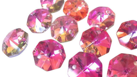 Metallic Rose Rainbow Chandelier Crystal Octagon Prisms 14mm Beads - ChandelierDesign