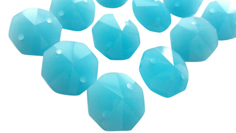 Opaline Aqua Chandelier Crystal Octagon Prisms 14mm Beads