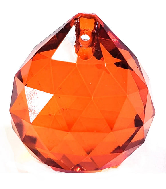 Orange Chandelier Crystal Ball, Faceted Ball Prism - ChandelierDesign