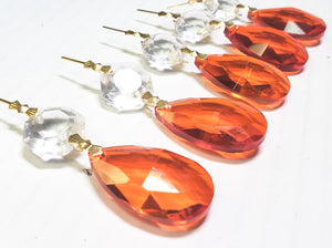 Orange Teardrop Chandelier Crystals with Diamond Cut Octagon - ChandelierDesign