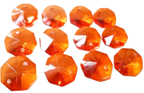 Orange 14mm Octagon Beads Chandelier Crystals 2 Holes - ChandelierDesign