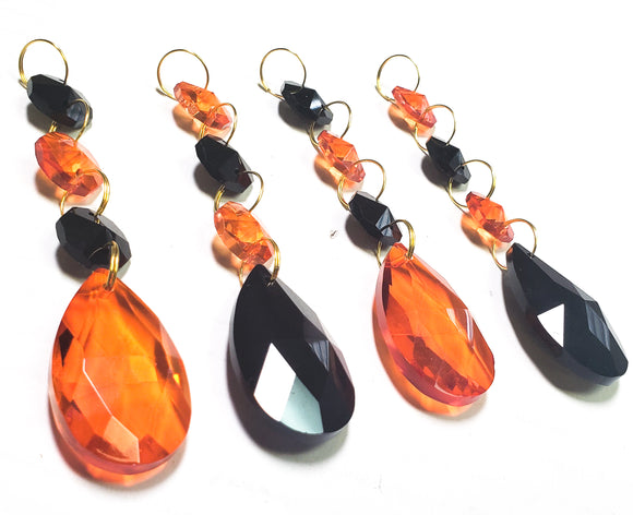 Orange and Black Teardrop Chandelier Crystal Ornaments, Pack of 4 - ChandelierDesign