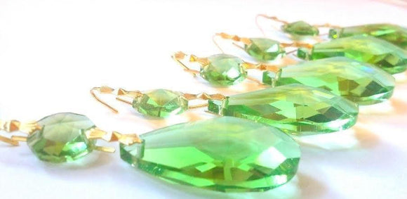Spring Green Teardrop Chandelier Crystals Ornaments, Pack of 5 - ChandelierDesign