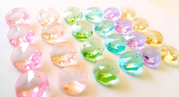 Pastel Rainbow Octagon Beads, 14mm Chandelier Crystals Prisms Pack of 24 - ChandelierDesign