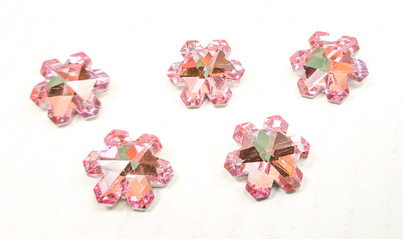 Metallic Pink Snowflake Chandelier Crystals, 20mm Pendants Pack of 5