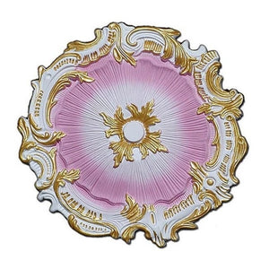 "Farrah Pink White and Gold Ceiling Medallion, 16.75"" Shabby Chic - ChandelierDesign"