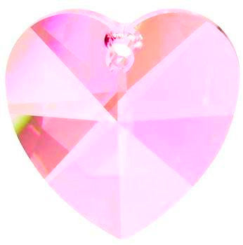 Heart Chandelier Crystals Prisms 28mm Pink - ChandelierDesign