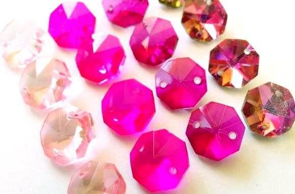 Assorted Pinks Set Octagon Beads, 14mm Chandelier Crystals Prisms Pack of 16 - ChandelierDesign