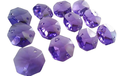 Asfour Lead Crystal Violet Chandelier Crystal Octagon Prisms 14mm Beads