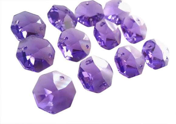 Violet Purple 14mm Octagon Beads Chandelier Crystals 2 Holes - ChandelierDesign