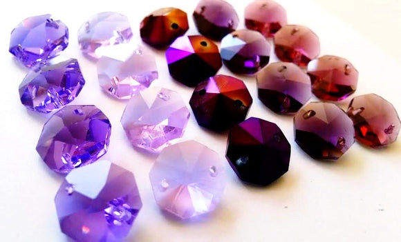 Assorted Purples Set Octagon Beads, 14mm Chandelier Crystals Prisms Pack of 20 - ChandelierDesign