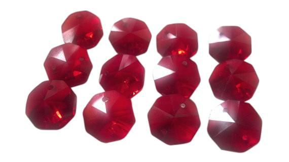 Red 14mm Octagon Beads Chandelier Crystals 2 Holes - ChandelierDesign