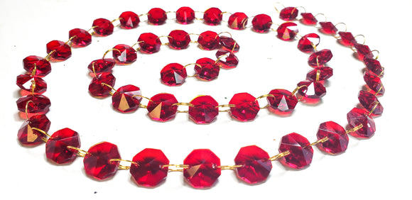 Red Yard Chandelier Crystals Garland - Ring Connectors - ChandelierDesign