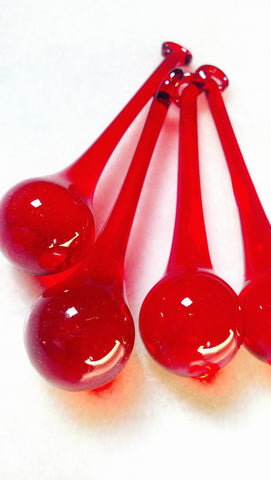 Red Chandelier Crystals Raindrop 80mm Prisms - ChandelierDesign