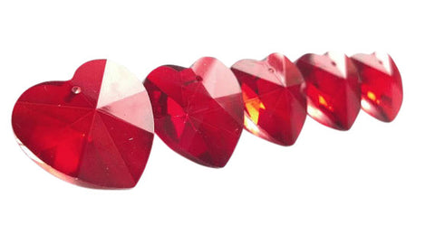 Heart Chandelier Crystals Prisms 28mm Red - ChandelierDesign