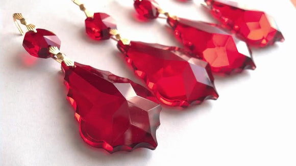 Red French Cut Chandelier Crystal Ornaments, Pack of 5 - ChandelierDesign