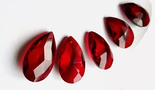 Red Teardrops Chandelier Crystals Prisms, Pack of 5 - ChandelierDesign