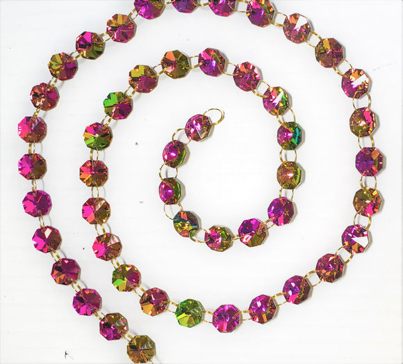 Rose Rainbow Yard Chandelier Crystals Garland - Ring Connectors - ChandelierDesign