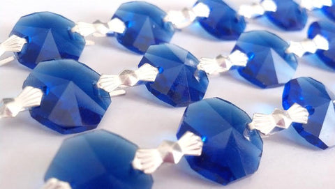 1 Yard Cobalt Blue Chandelier Crystal Prism 14mm Octagons - ChandelierDesign